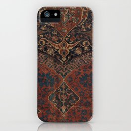 Boho Chic Dark VII // 17th Century Colorful Medallion Red Blue Green Brown Ornate Accent Rug Pattern iPhone Case