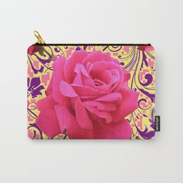 PINK ROSE FLOWERS ON  PINK & YELLOW FILIGREE Carry-All Pouch
