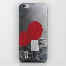 Black White Red mother and child with Umbrella print of painting rainy cloudy surrealism iPhone Skin