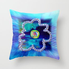 Blue and line flower Throw Pillow