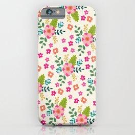 Pink Fuchsia Spring Flower Pattern iPhone Case