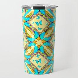 Western Style Turquoise Butterflies Creamy Gold Patterns Art Travel Mug