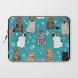 Cat breeds snowflakes winter cuddles with kittens cat lover essential cat gifts Laptop Sleeve