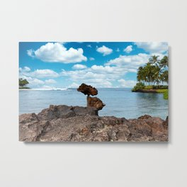 Stacked Rocks with ocean background  Metal Print