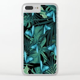 Tropical Butterfly Jungle Night Leaves Pattern #5 #tropical #decor #art #society6 Clear iPhone Case