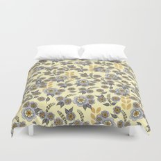 Golden floral with silver on beige Duvet Cover