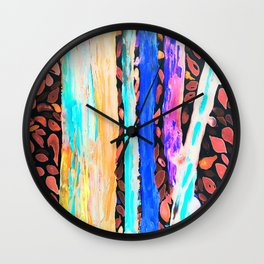Rainbow Eucalyptus Graffiti artist tree Tries to get ready for the Fall Autumn Wall Clock