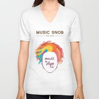paramore V-neck T-shirts featuring MORE Music to DYE for — Music Snob Tip #075.5 by Elizabeth Owens