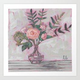 Pops of Hot Pink Florals Art Print
