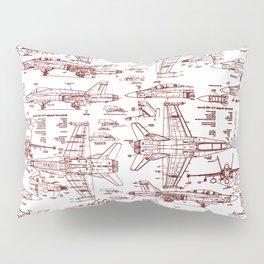 F-18 Blueprints // Red Ink Pillow Sham