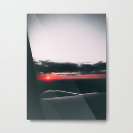 Sunset from airplane, red light Metal Print