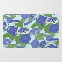 Glory Bee - Vintage Floral Morning Glories and Bumble Bees Rug