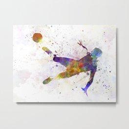 man soccer football player flying kicking Metal Print