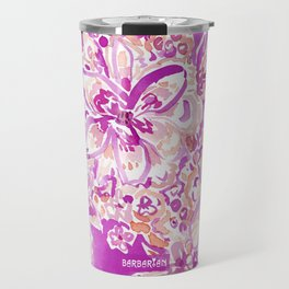 GOOD VIBES Wild Pink Watercolor Floral Travel Mug