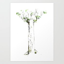 THREE KIWIS BEHIND A KAURI TREE Art Print