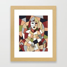 Woman with Kindle #5 Framed Art Print