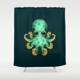 Cute Green Baby Octopus Shower Curtain