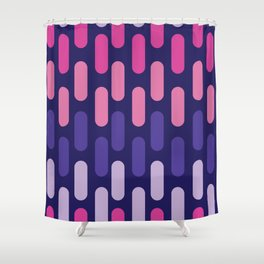 Colourful lines on navy background Shower Curtain