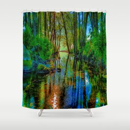 A Flooded Wood Shower Curtain