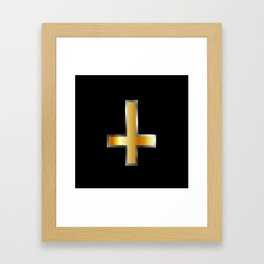 An inverted cross- The Cross of Saint Peter used as an anti-Christian and Satanist symbol. Framed Art Print