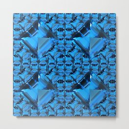 ORNATE  BLUE CRYSTAL GEMS PATTERN Metal Print