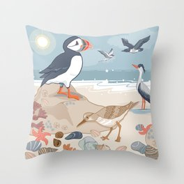 Coastal Birds By The Sea Throw Pillow