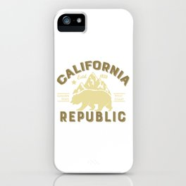 Vintage Retro California Republic Golden State Grizzly Bear Mountains iPhone Case