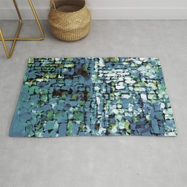 Blue Green Abstract Geometric Low Poly Modern Art Rug