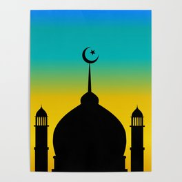 Mosque dome and minaret silhouette with moon during sunset - eid gifts Poster