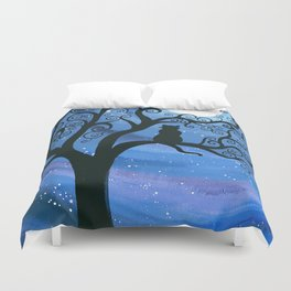 Meowing at the moon - moonlight cat painting Duvet Cover