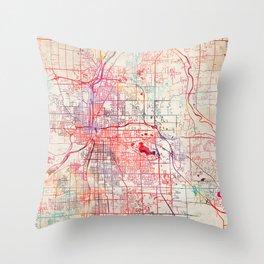 Grand Rapids map Michigan painting Throw Pillow