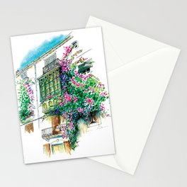 Ibiza old town charming windows with Bougainvilleas Stationery Cards