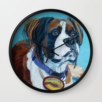 nori Wall Clocks featuring Nori the Therapy Boxer by Barking Dog Creations Studio