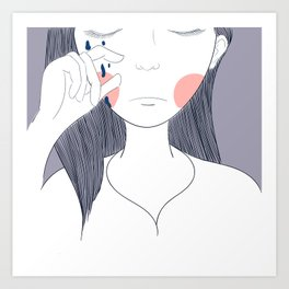 Women are crying painting in pink surface.Eye Tears Vector Icon.One beautiful brown color caucasian Art Print