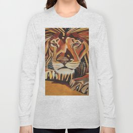 Lion Vector In Cubist Style Long Sleeve T-shirt