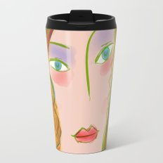 Pop Girl Portrait with Flowers and Leaves Decoration Travel Mug