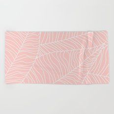 TROPICAL LEAVES - pink palette Beach Towel