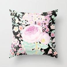 Flower Bouquet in Black Throw Pillow