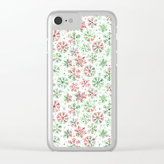 Red Green Snowflakes Clear iPhone Case