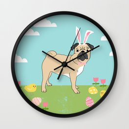 Pug easter dog breed pet pattern rescue dog pugs lovers spring easter eggs Wall Clock
