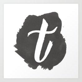 """""""T"""" Monogram, Watercolor Design  Art Print"""