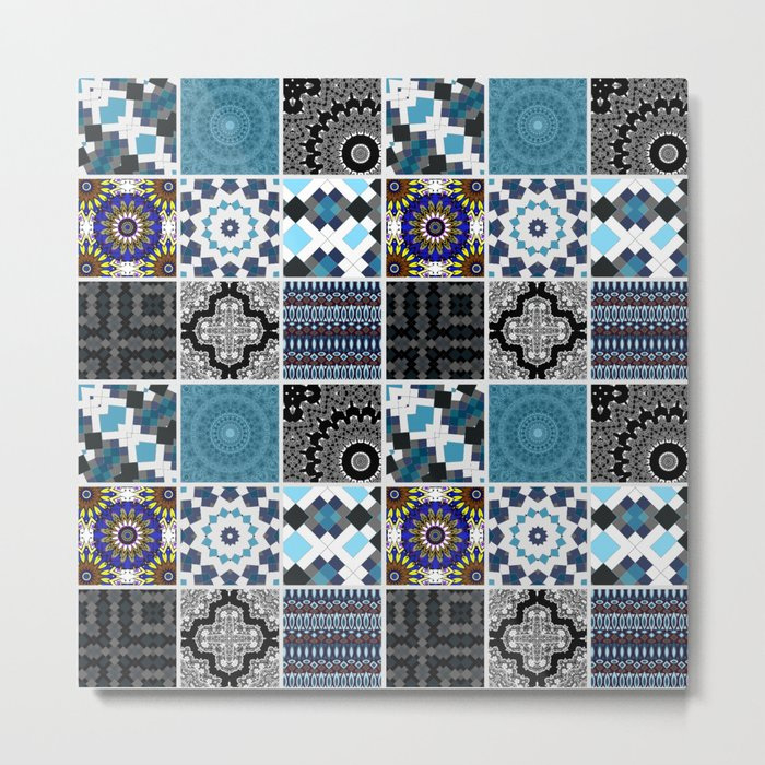Patchwork . Blue , black and grey . Metal Print