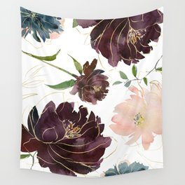 Chic Watercolor Flowers Wall Tapestry
