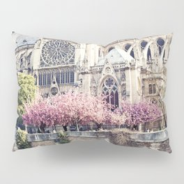 Cherry blossoms in Paris, Notre Dame Viwe Pillow Sham