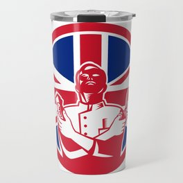 British Barber Union Jack Flag Icon Travel Mug