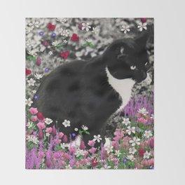 Freckles in Flowers II - Tuxedo Kitty Cat Throw Blanket