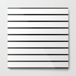 Horizontal Lines (Black & White Pattern) Metal Print