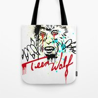 teen wolf Tote Bags featuring Teen Wolf  by DIVIDUS