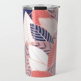 Leaf wall // navy blue coral and blush pink leaves rose metal lines Travel Mug