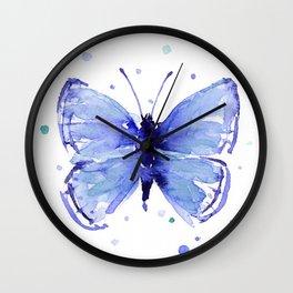 Dark Blue Butterfly Watercolor Wall Clock